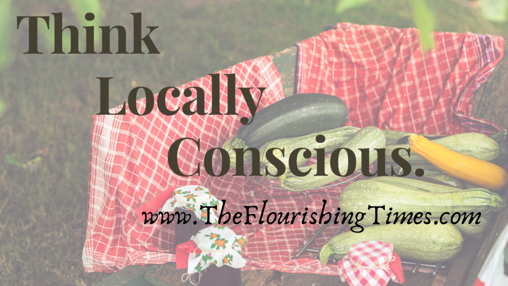 This is a graphic of zucchini squash in a barrel with a red towel. It says Think Locally Conscious