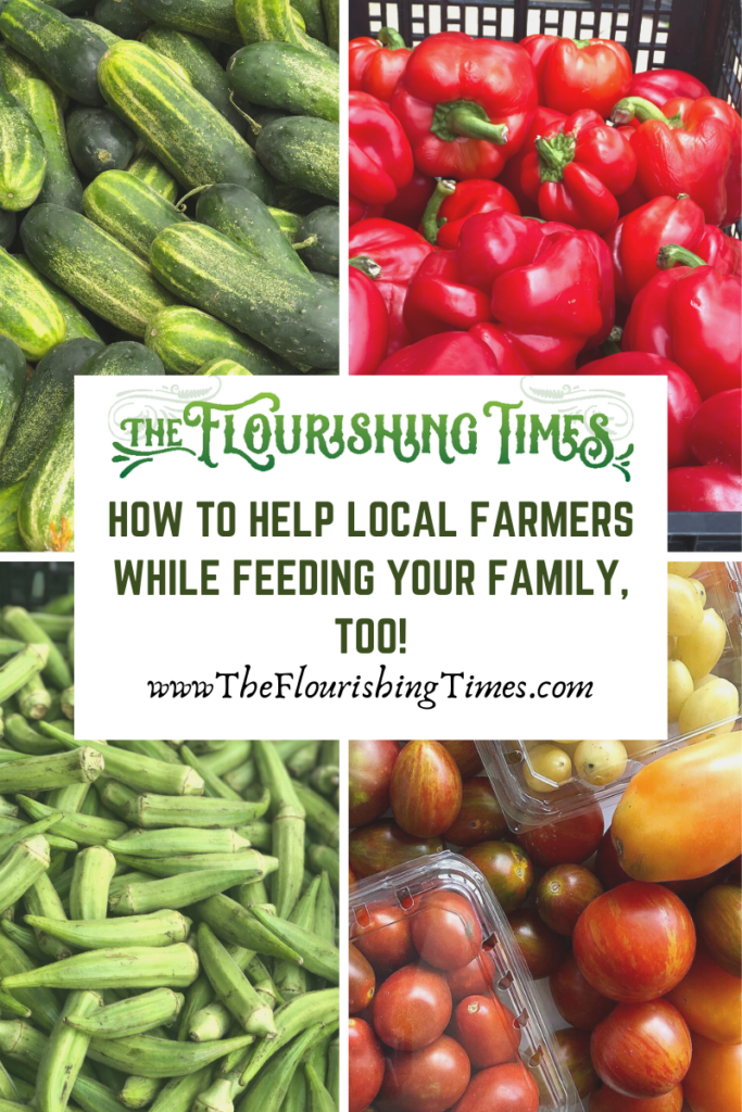 This is a 4 image square announcing How to help local farmers while feeding their family, too. The images are of cucmbers, red bell peppers, okra and tomatoes.