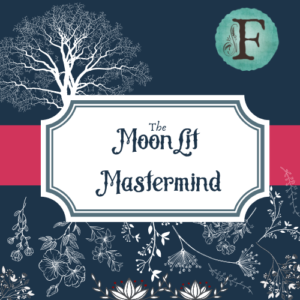 Custom Artwork by Brandi McRill for the cover of The Moonlit Mindset with a vibrant blue background, pink banner, flowers, Flourishing Fern F logo in the corner and a frame saying The Moonlit Mindset.
