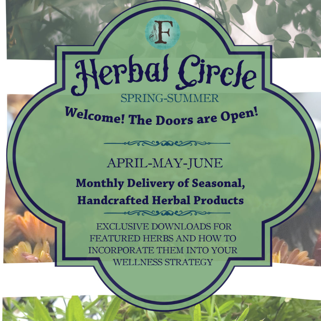 This is the course cover for The Spring-Summer Herbal Circle. You will see intruction for the Herbal circle and the delivery months of April Many and June for delivery. Additionally, Members receive access to exclusive downloads each month on featured herbs. In the background, You see 3 of my pictures- morning, cleavers and passionflower.