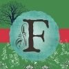 This is the Flourishing Fern F Logo in front of a green Background, pink banner and signature blue tree in the background